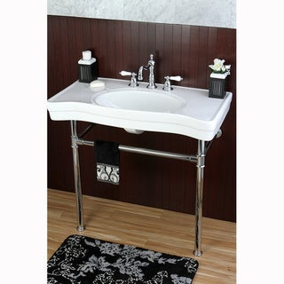 Imperial Vintage 36-inch Wall-mount Chrome Pedestal Bathroom Sink Vanity