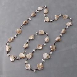 Light Brown Mother of Pearl Link Cotton Rope Necklace (Thailand)