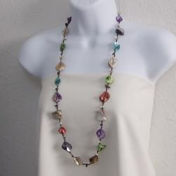 Mix Color Mother of Pearl Link Cotton Rope Necklace (Thailand)