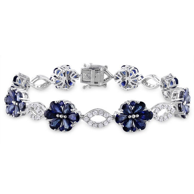 Miadora Signature Collection 14k White Gold Sapphire and 1 1/4ct TDW Diamond Bracelet (H-I, SI1)
