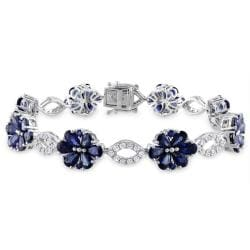 Miadora 14k White Gold Sapphire and 1 1/4ct TDW Diamond Bracelet (H-I, SI1)