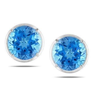 Miadora Signature Collection 14k White Gold 36ct TGW Swiss Blue Topaz Stud Earrings