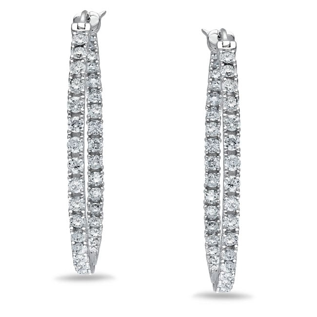 Miadora 14k White Gold 3 1/2ct TDW Diamond Hoop Earrings (H-I, SI1-SI2)