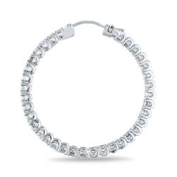 Miadora 14k White Gold 3 1/2ct TDW Diamond Hoop Earrings (H-I, SI1-SI2)