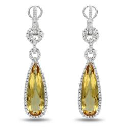 Miadora 14k White Gold Citrine and 1ct TDW Diamond Earrings (H-I, SI1-SI2)