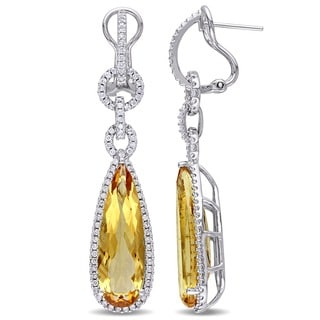 Miadora Signature Collection 14k White Gold Citrine and 1ct TDW Diamond Earrings (H-I, SI1-SI2)