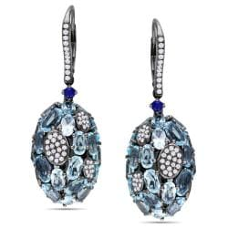 Miadora 14k Gold Blue Topaz, Sapphire and 1ct TDW Diamond Earrings (H-I, SI1)