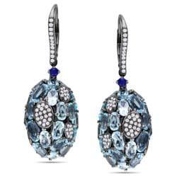 Miadora 14k Gold Blue Topaz, Sapphire and 1ct TDW Diamond Earrings (H-I, SI1)