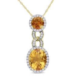 Miadora 14k Yellow Gold Citrine and 1/2ct TDW Diamond Necklace (H-I, SI1-SI2)
