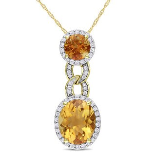 Miadora 14k Yellow Gold Citrine and 1/2ct TDW Diamond Necklace (H-I, SI1-SI2)