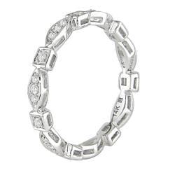 Miadora 10k White Gold 1/5ct TDW Diamond Eternity Ring (H-I, I1-I2)