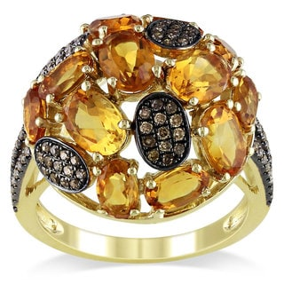 Miadora Signature Collection 14k Yellow Gold Citrine and 1/3ct TDW Brown Diamond Ring