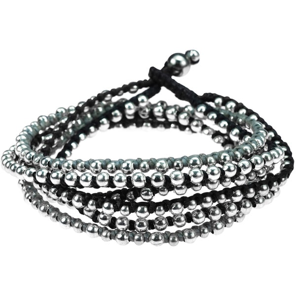Trendy Round Silver Beads Triple Layer Bracelet (Thailand)