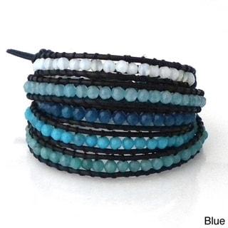 Amazonite/ Quartz/ Amethyst/ Carnelian Multi Tonal Faceted Stones 5-Wrap Bracelet (Thailand)