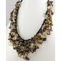 Tiger's Eye- Feshwated Dyed Gold Waterfall Cluster Necklace (Thailand)