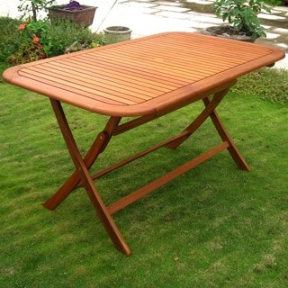 International Caravan Royal Tahiti Yellow Balau Rectangular Outdoor Folding Dining Table