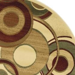 Lyndhurst Collection Circ Ivory/ Multi Rug (7' Round)
