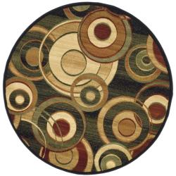 Lyndhurst Collection Circ Black/ Green Rug (7' Round)