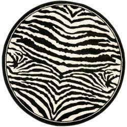 Lyndhurst Collection Zebra Black/ White Rug (7' Round)