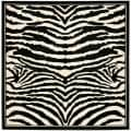 Lyndhurst Collection Zebra Black/ White Rug (7' Square)