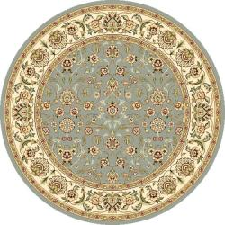 Lyndhurst Floral Motif Greyish Blue/ Ivory Rug (7' Round)