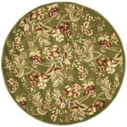 Lyndhurst Collection Floral Sage Rug (7' Round)