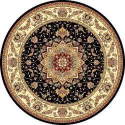 Lyndhurst Collection Traditional Black/ Ivory Rug (7' Round)