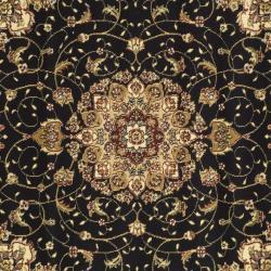Lyndhurst Collection Traditional Black/ Ivory Rug (7' Square)
