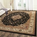 Safavieh Lyndhurst Collection Traditional Black/ Ivory Rug (7' Square)