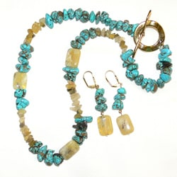 Susen Foster 'African Sunshine' Goldplated Necklace and Earrings Set