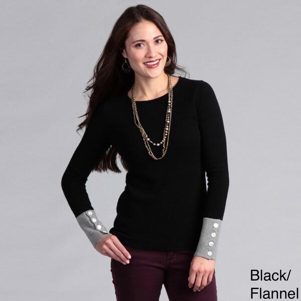Grace Cashmere Women's Cashmere Two-tone Sweater