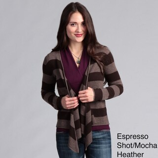 Grace Cashmere Women's Striped Open Front Cardigan