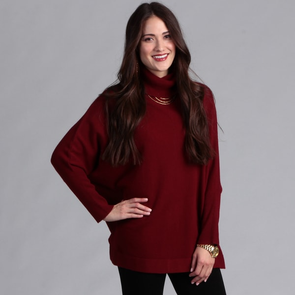 Grace Cashmere Women's Plum Red Cashmere Dolman Sleeve Sweater