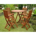 International Caravan Royal Tahiti 'Seville' 5-piece Bar-height Yellow Balau Folding Outdoor Dining Set