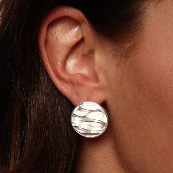 Breeze Sterling Silver Hand-finished Medallion Earrings