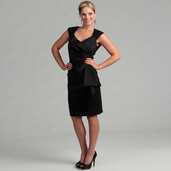 Marina Women's Black Taffeta V-neck Lace Dress