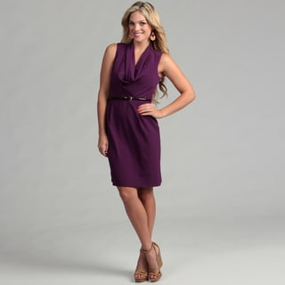 Marina Women's Purple Cowl Neck Belted Dress