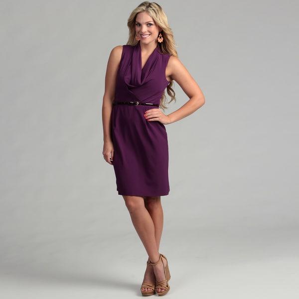 Marina Women's Purple Cowl Neck Belted Dress