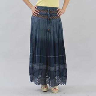 Meetu Magic Blue Embroidered Full-length Peasant Skirt