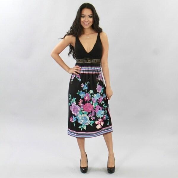 Meetu Magic Women's Black Vibrant Floral Dress