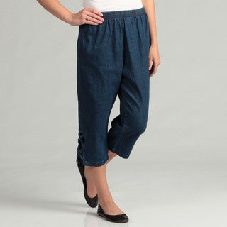 Salem Straits Women's Lattice Detail Denim Capris