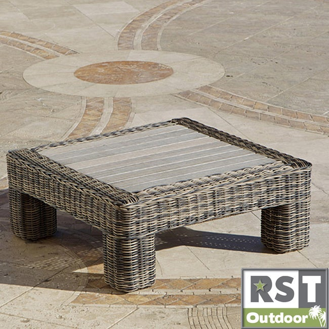 Collection Weathered Grey Rattan 36 Inch Square Outdoor Coffee Table
