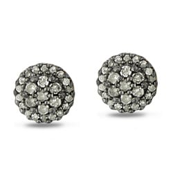 Miadora Sterling Silver 1/2ct TDW Grey Diamond Earrings