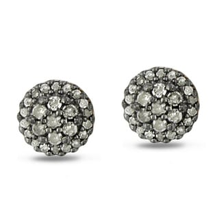 Haylee Jewels Sterling Silver 1/2ct TDW Grey Diamond Stud Earrings