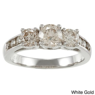 Auriya 14k Gold 1 1/2ct TDW Round Diamond 3-stone Engagement Ring (K, I1-I2)