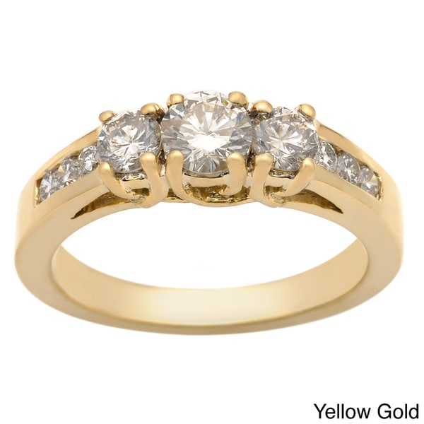 Auriya 14k Gold 1ct TDW Round Diamond 3-stone Engagement Ring (K, I1-I2)