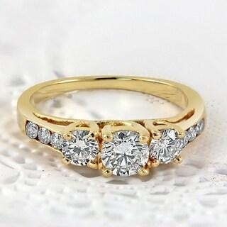 Auriya 14k Gold 1ct TDW Round Diamond 3-stone Engagement Ring (J-K, I1-I2)