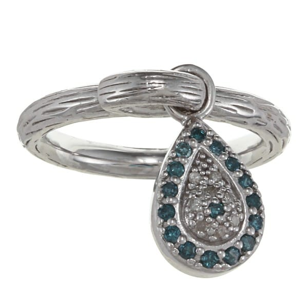 Sterling Silver 1/5ct TDW Diamond and Enamel Evil Eye Ring (J-K, I2-I3)