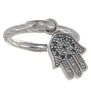 Sterling Silver 1/6ct TDW Diamond and Enamel Hamsa Ring (J-K, I2-I3)