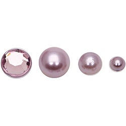 Non-Adhesive Purple Flat Back Pearl and Rhinestone Collection